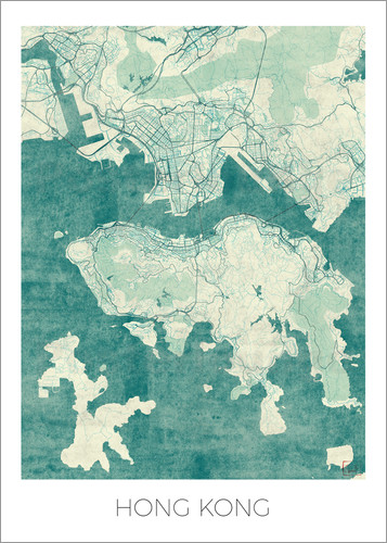 Poster Hong Kong Map Blue