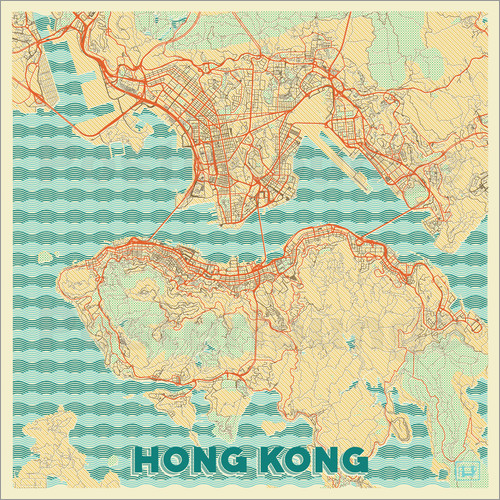 Poster HongKong Map Retro