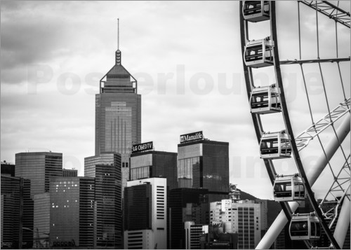 Sebastian Rost - Hong Kong Ferris Wheel in black and white