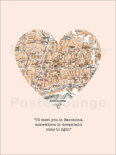 Poster I'll meet you in barcelona romantic quote