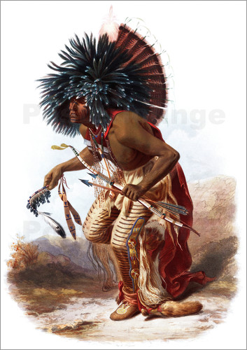 Karl Bodmer - Indians with blue feathered headdress