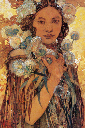 Alfons Mucha - Native American Woman with Flowers and Feathers