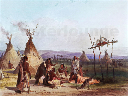 Karl Bodmer - Camp of Native Americans