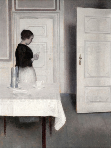 Vilhelm Hammershoi - Interior with woman reading
