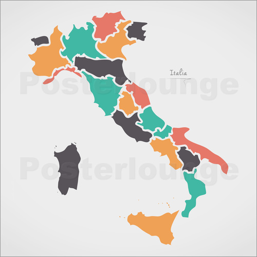 Ingo Menhard - Italy map modern abstract with round shapes