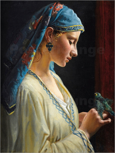 Charles Landelle - Young woman with bird