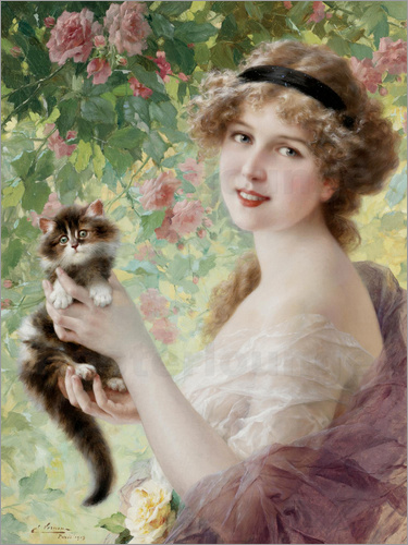 Poster Young girl with a kitten