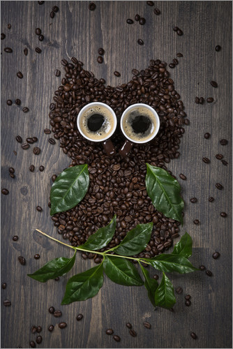 Poster Coffee owl from beans, leaves and cups