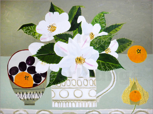 Poster White Camellia and Tangerines