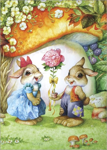 Poster Rabbits and rose