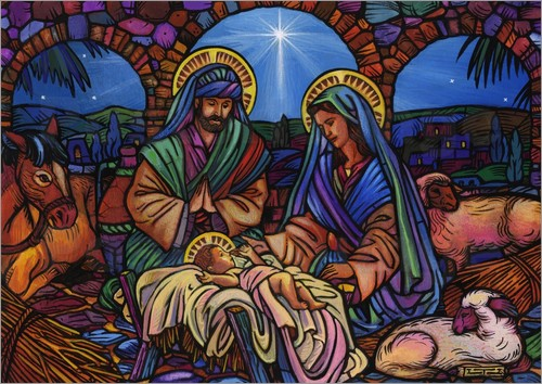 Lewis T. Johnson - Stained Glass Nativity