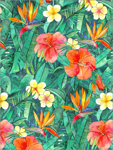 Poster classic tropical garden watercolor pattern
