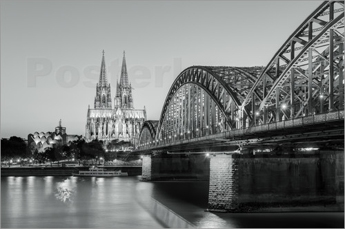 Poster Cologne at night in black and white