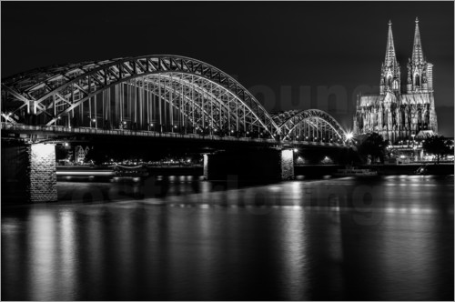 Poster Cologne Cathedral and bridge