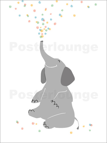Poster confetti Elephant