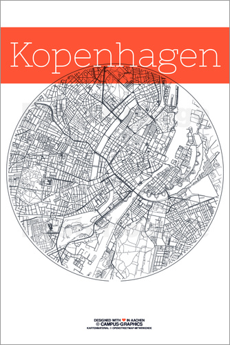 Poster Copenhagen map city black and white