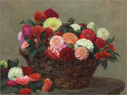 Poster Basket of dahlias, 1893