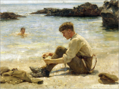 Henry Scott Tuke - Lawrence as a cadet at Newporth beach