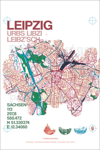 campus graphics Leipzig Map City Poster Posterlounge