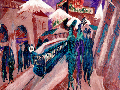 Ernst Ludwig Kirchner - Leipziger Strasse with electric train