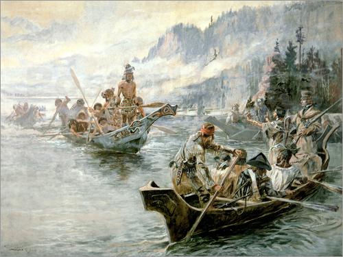 Charles Marion Russell - Lewis & Clark on the Lower Columbia River, 1905