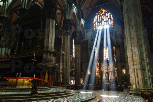Poster Beams of Light inside Milan Cathedral