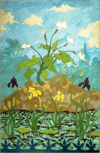 Poster Lilies, Purple and Yellow Irises