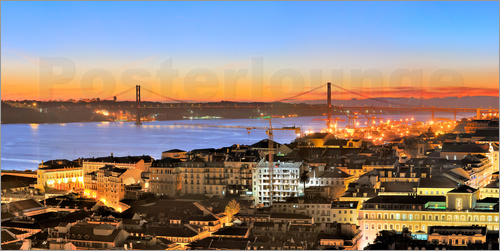 Poster Panorama  of Lisbon Portugal
