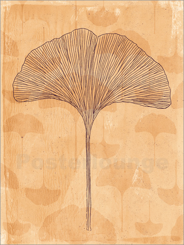 Poster little and big ginkgo leaves