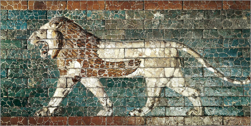 Poster Lion mosaic at the temple of Babylon