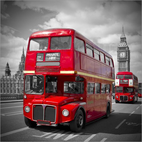 posters affiches de londres bus rouges posterlounge. Black Bedroom Furniture Sets. Home Design Ideas