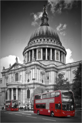 Poster LONDON St  Paul's Cathedral and Red Bus