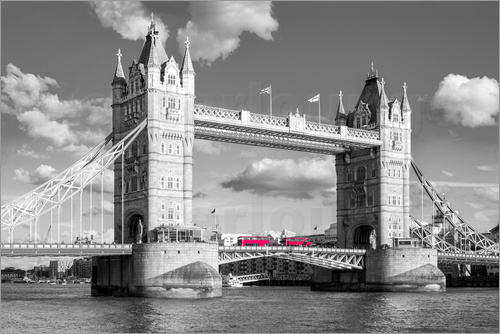 Poster london tower bridge black and white