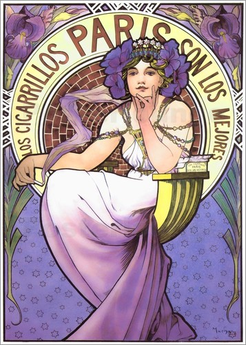 Poster Los Cigarrillos Paris, purple iris