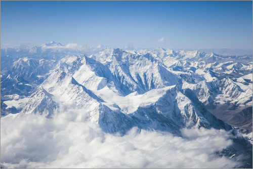 Poster Aerial view of mount Everest, Himalaya