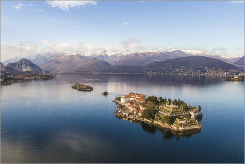 Matteo Colombo - Aerial view of Isola Bella on lake Maggiore at sunset, Italy