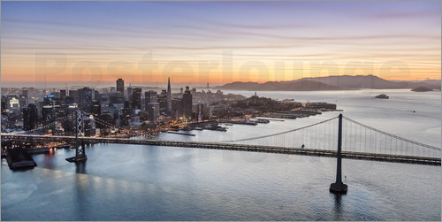 Poster Aerial view of San Francisco at sunset, USA