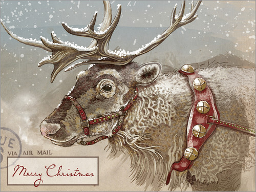 Poster Air Mail Christmas Reindeer
