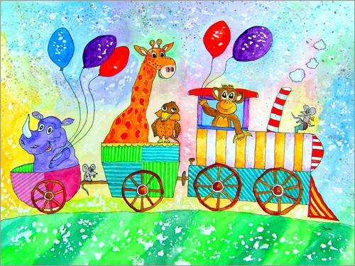 Poster Funny train animals for kids