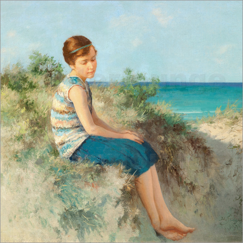 Hermann Seeger - Girl in the dunes by the North Sea beach on Sylt
