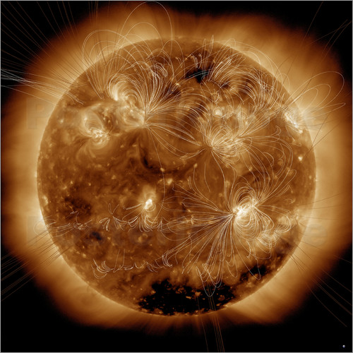 Stocktrek Images - Magnetic field lines on the Sun