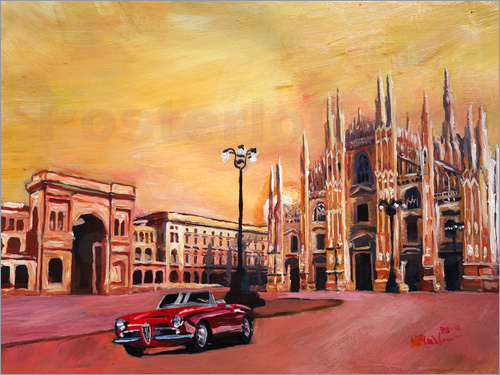Poster Milan Cathedral with Oldtimer Convertible Alfa Romeo