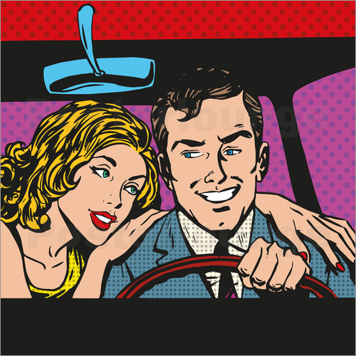 Poster Man and woman in the car