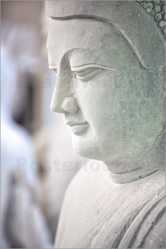 Lee Frost - Marble Buddha images waiting to be finished at a stone carver's in Amarapura, near Mandalay, Myanmar