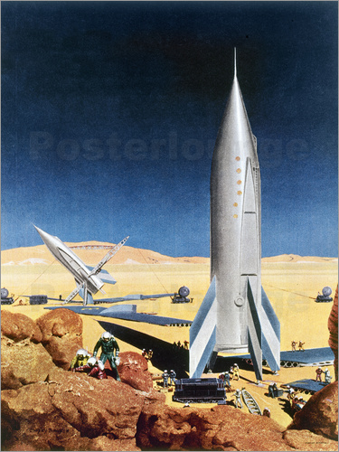 Chesley Bonestell - Mars Mission, 1950s.
