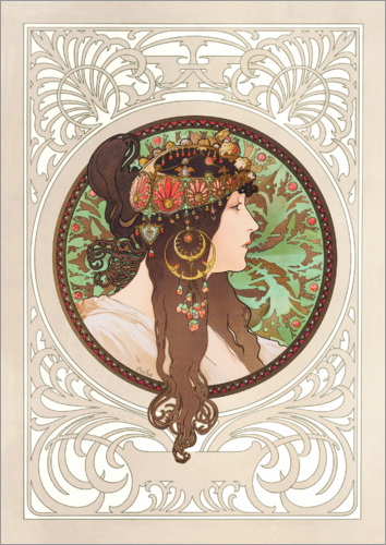 Poster Medallion with oriental woman