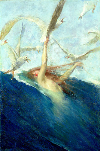 Giovanni Segantini - A Mermaid Being Mobbed by Seagulls