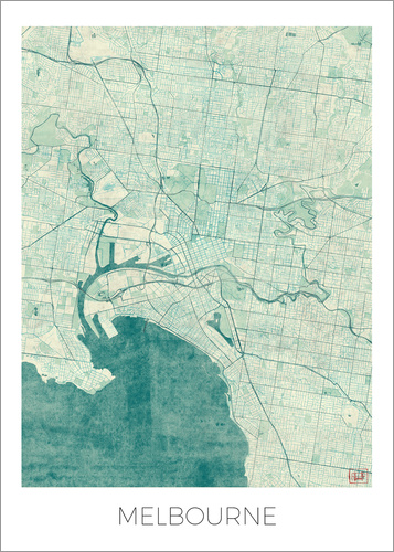 Poster Melbourne Map Blue