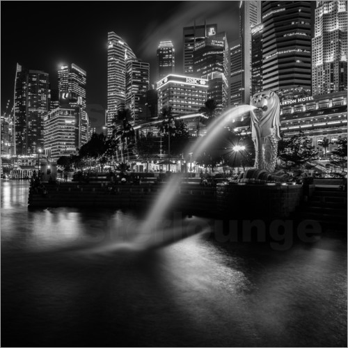 Poster Merlion Singapore black and white
