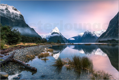 Poster Sunrise at Milford Sound, NZ